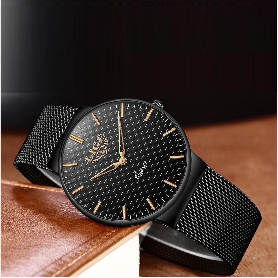 (New Arival) Đồng hồ nam LIGE dây thép mành đen cao cấp - Mẫu High Fashion GA010