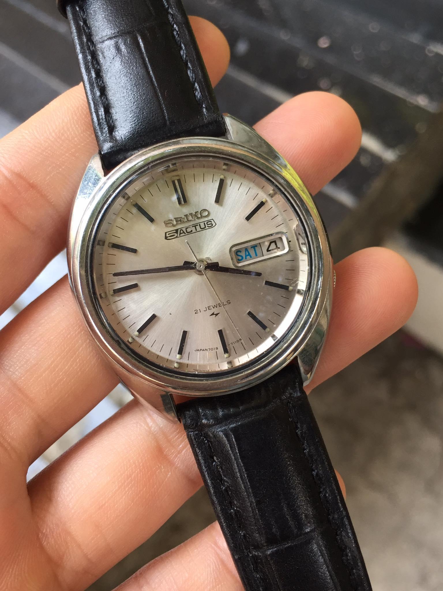 [HCM]Đồng hồ nam Seiko 5Actus cơ automatic 21 jewels có lịch dây da màu đen