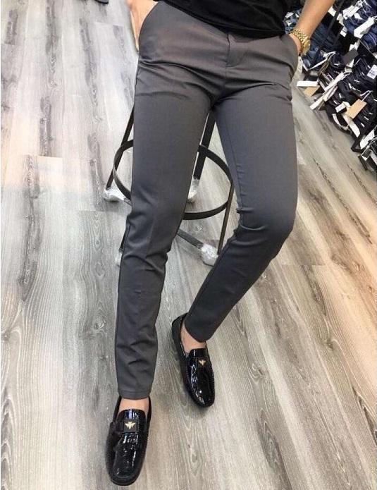 Quần âu nam Hàn Quốc quần tây nam đen dáng ôm vải co giãn không nhăn