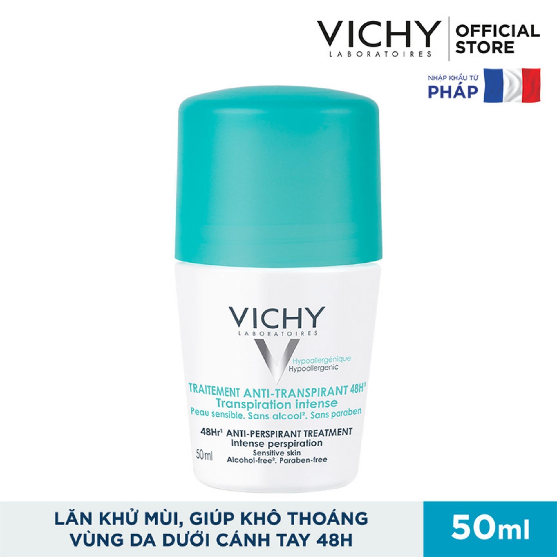 Lăn khử mùi và khô thoáng vùng da dưới cánh tay 48H  Vichy Traitement Anti- Transpirant 50ml
