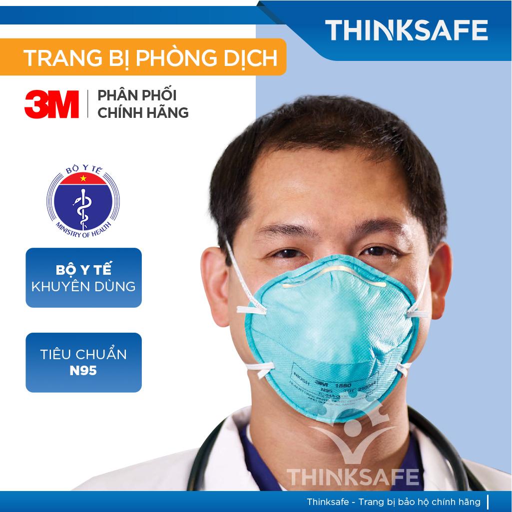 Khẩu trang phòng dịch N95 3M 1860 chuyên dùng chống giọt bắn, máu, vi khuẩn - Khẩu trang 3M chính hãng [Thinksafe]