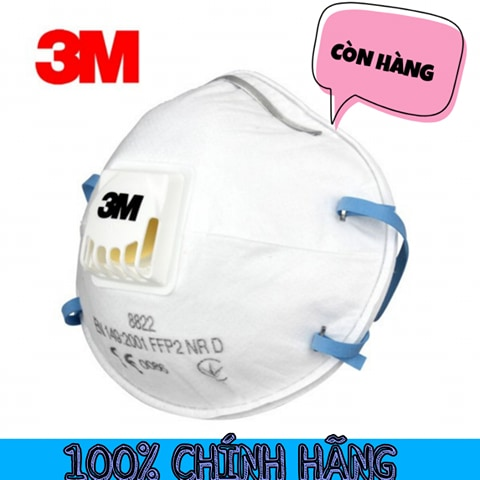 1 cái Khẩu Trang 3M 8822 Có Van Thở Lọc Bụi Vi Khuẩn Hóa Chất kháng khuẩn chóng bụi mịn PM 2.5 -  KHAU TRANG có hoạt tính chóng bụi bẩn khí độc - chuẩn hàng chính hãng
