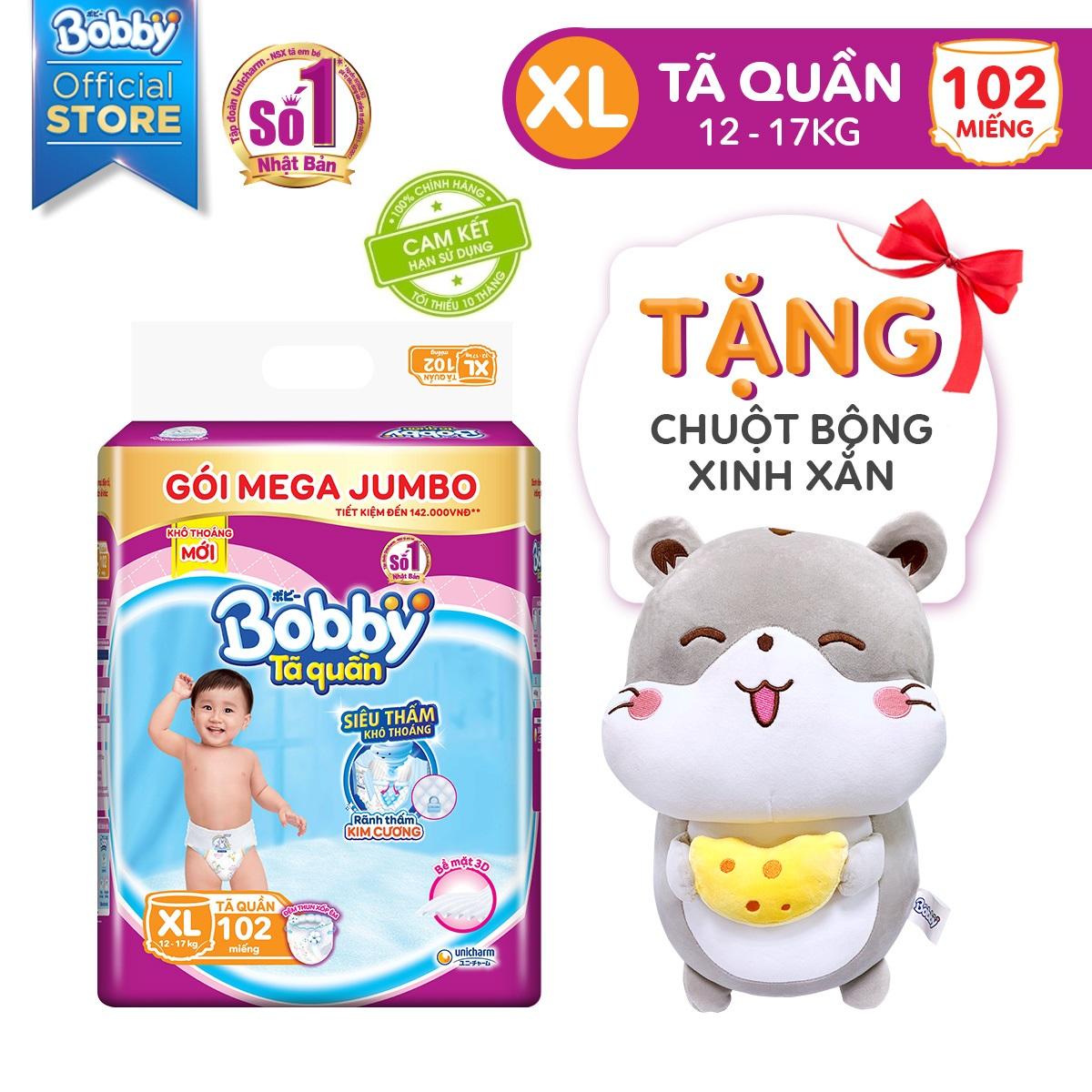 [Tặng Chuột Bông] Tã/ Bỉm quần Bobby Siêu thoáng gói Mega Jumbo XL102