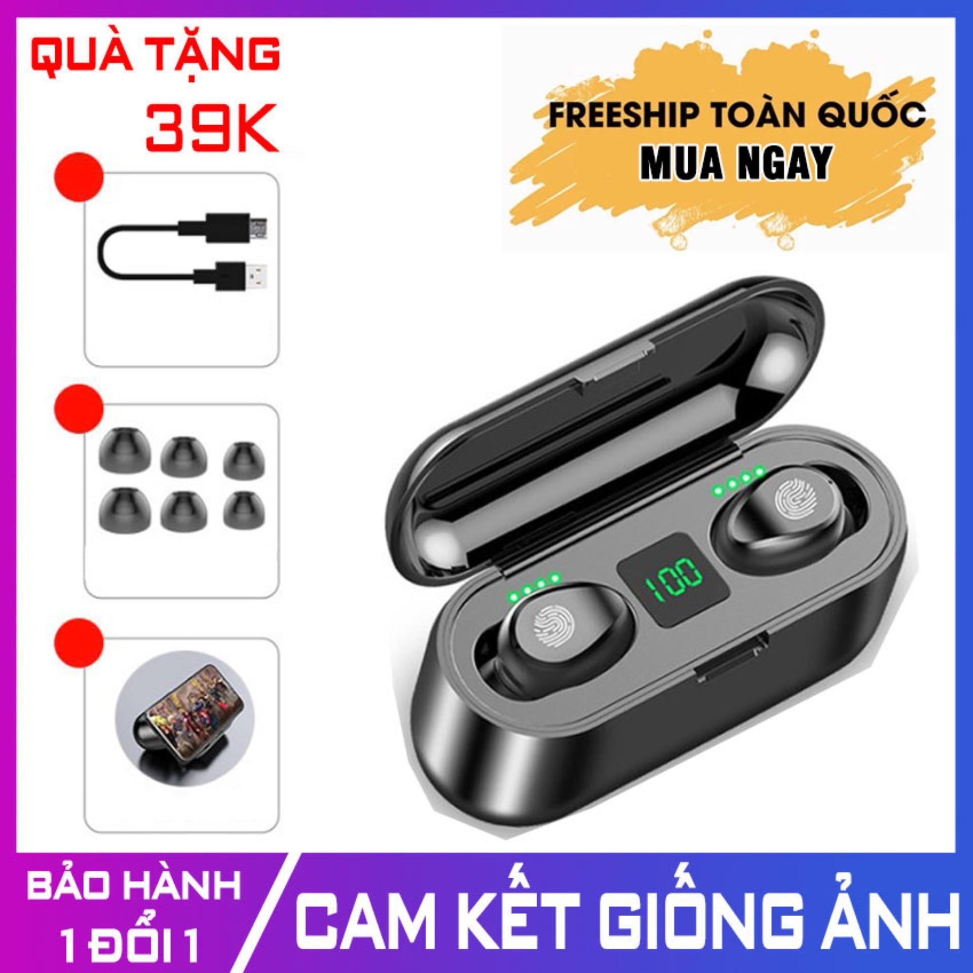 Tai nghe Bluetooth 5.0 AMOI F9 [CẢM ỨNG] [KIÊM SẠC DỰ PHÒNG 2000mAh] - Tai nghe không dây hai bên nhét tai cao cấp tai nghe thiết kế vô hình kiểu dáng thể thaotai nghe nhét tai không dây - Tonoto Store