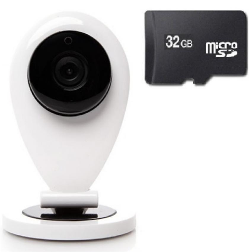 Camera IP Wifi giám sát ngày đêm Mini DZ099 kèm thẻ nhớ 32GB (Trắng)