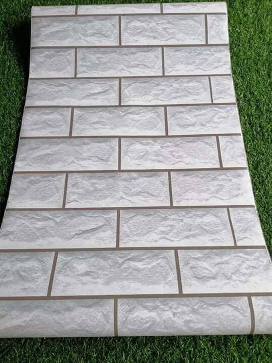 Comno 10M decal giấy dán tường giả gạch xám - trắng (10mx0.45m) - Bách hóa susu