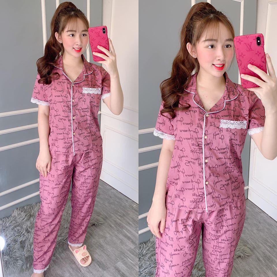 Đồ Bộ Pijama Tay Ngắn Quần Dài Vải Kate Lụa Mềm Mịn Viền Bèo Siêu Xinh 43-56kg CAM KẾT GIAO ĐÚNG MẪU Nguyên Khánh Store