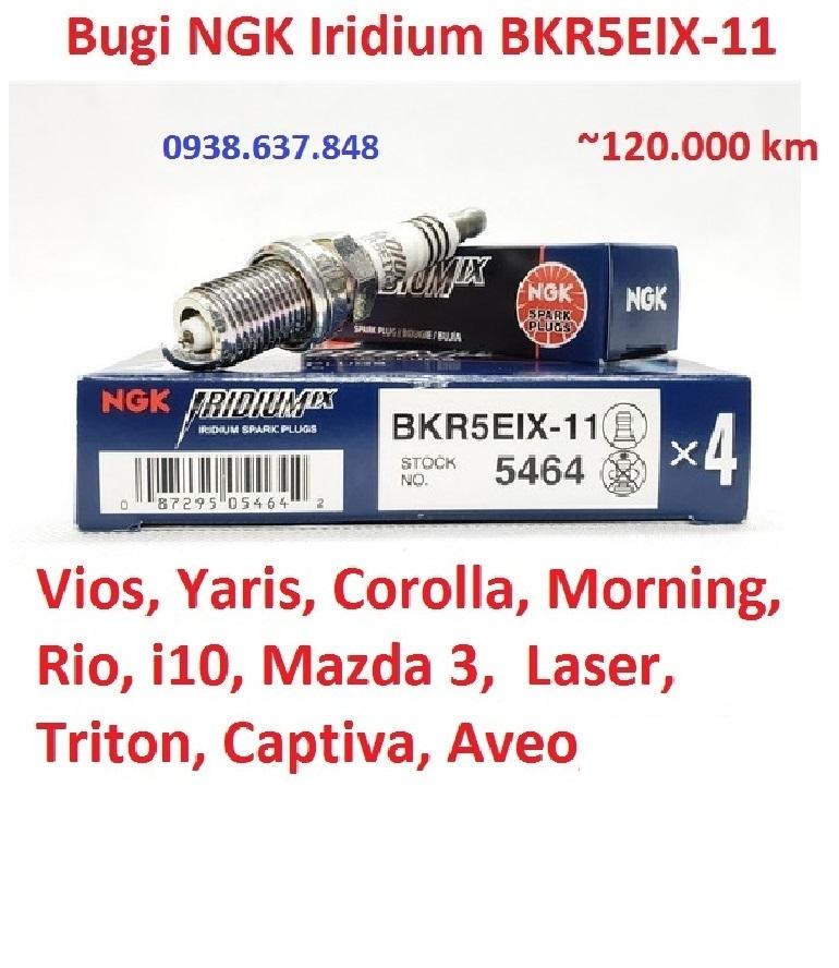 [HCM](BKR5EIX-11) Bugi NGK cao cấp Iridium cho Vios Yaris Morning CarensRio i10 Mazda 3 Laser Triton Captiva Matiz