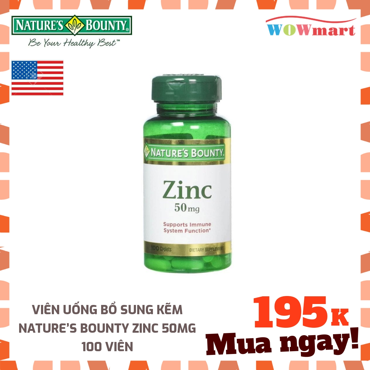 Viên uống bổ sung kẽm Nature's Bounty Zinc 50mg 100 viên - [Mỹ]