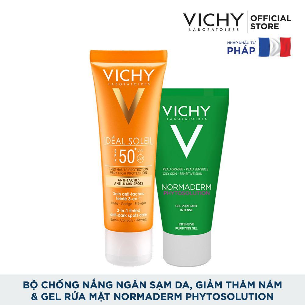 Bộ kem chống nắng ngăn sạm da giảm thâm nám Vichy Ideal Soleil Anti Darkspot 50ml và Gel rửa mặt Normaderm Phytosolution 50ml