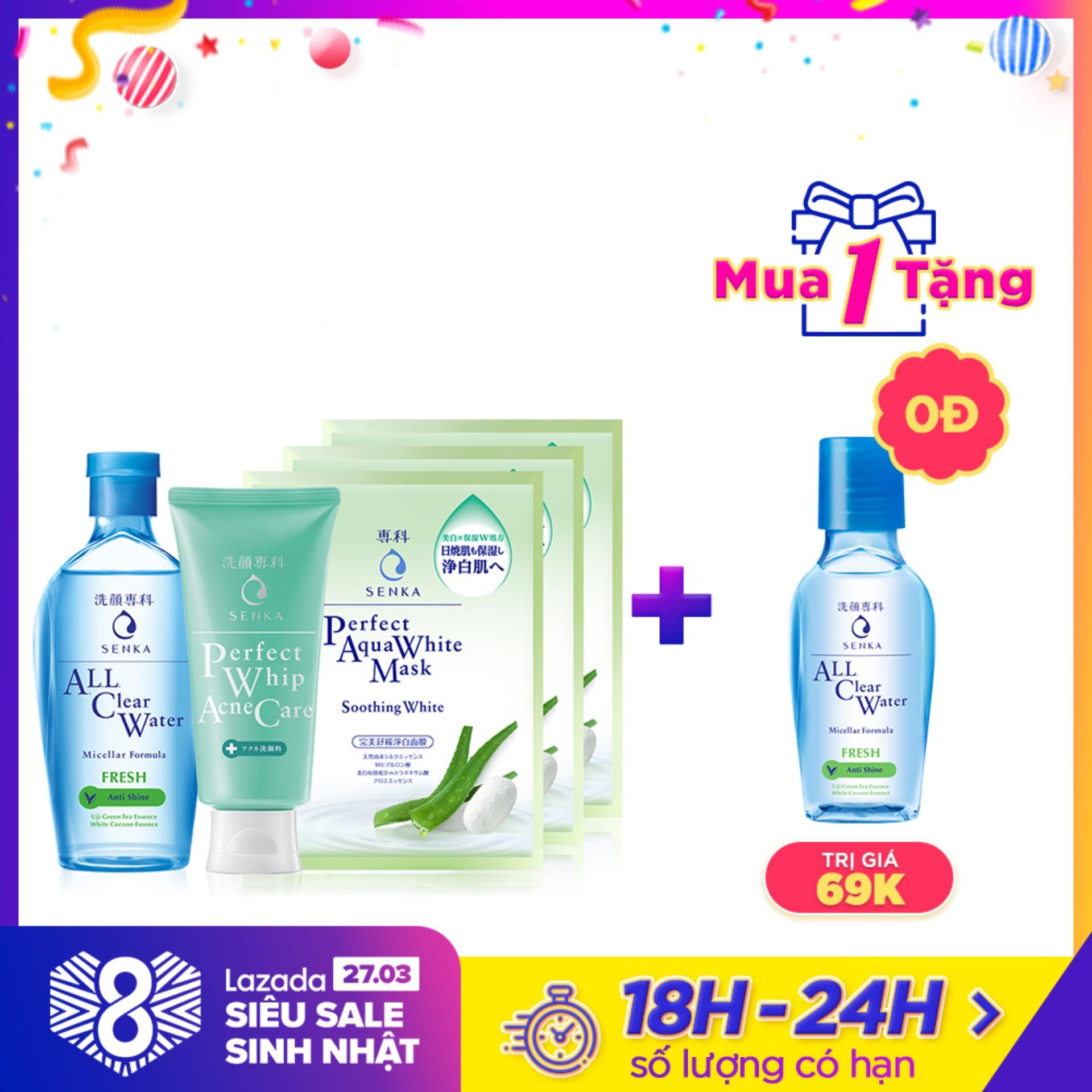 Bộ sản phẩm dành cho da mụn Senka (A.L.L Clear Water Fresh 230ml+SRM Acne Care 100g+Mặt nạ soothing 25mlx3)