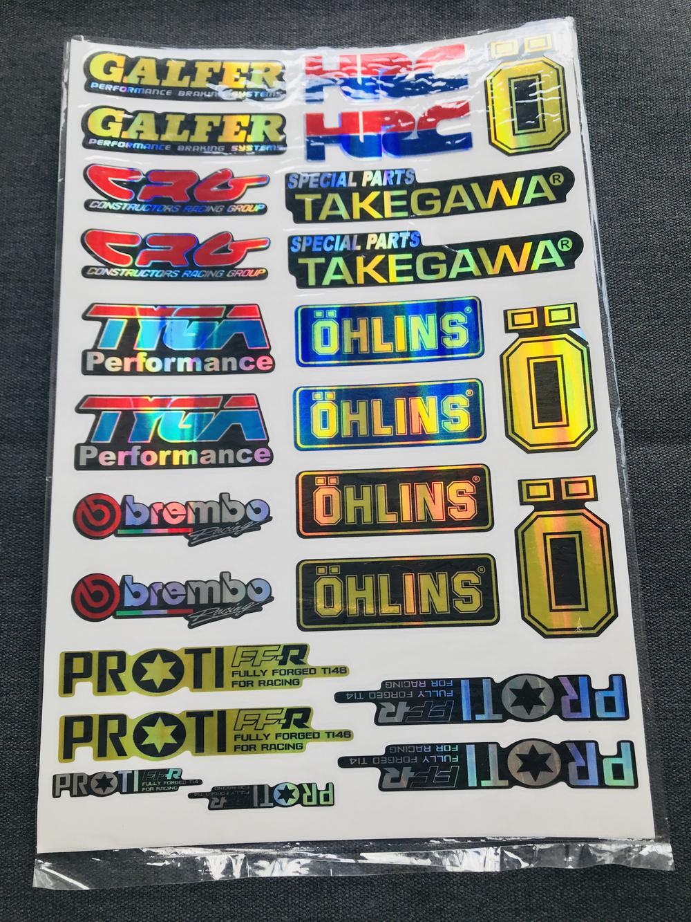 Bộ tem logo tem crom bóng nhiều kiểu (mẫu 1) dán các loại xe máy tem crom phũ keo bóng ít bay màu theo thời gian