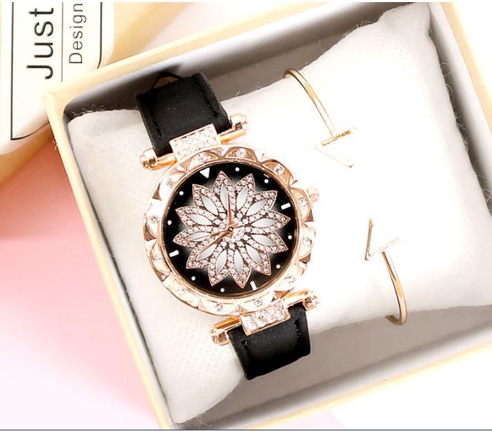 [TẶNG HỘP VÀ PIN 50K] Đồng hồ nữ dây da mặt hoa đính đá kim sa siêu dễ thương CVTR
