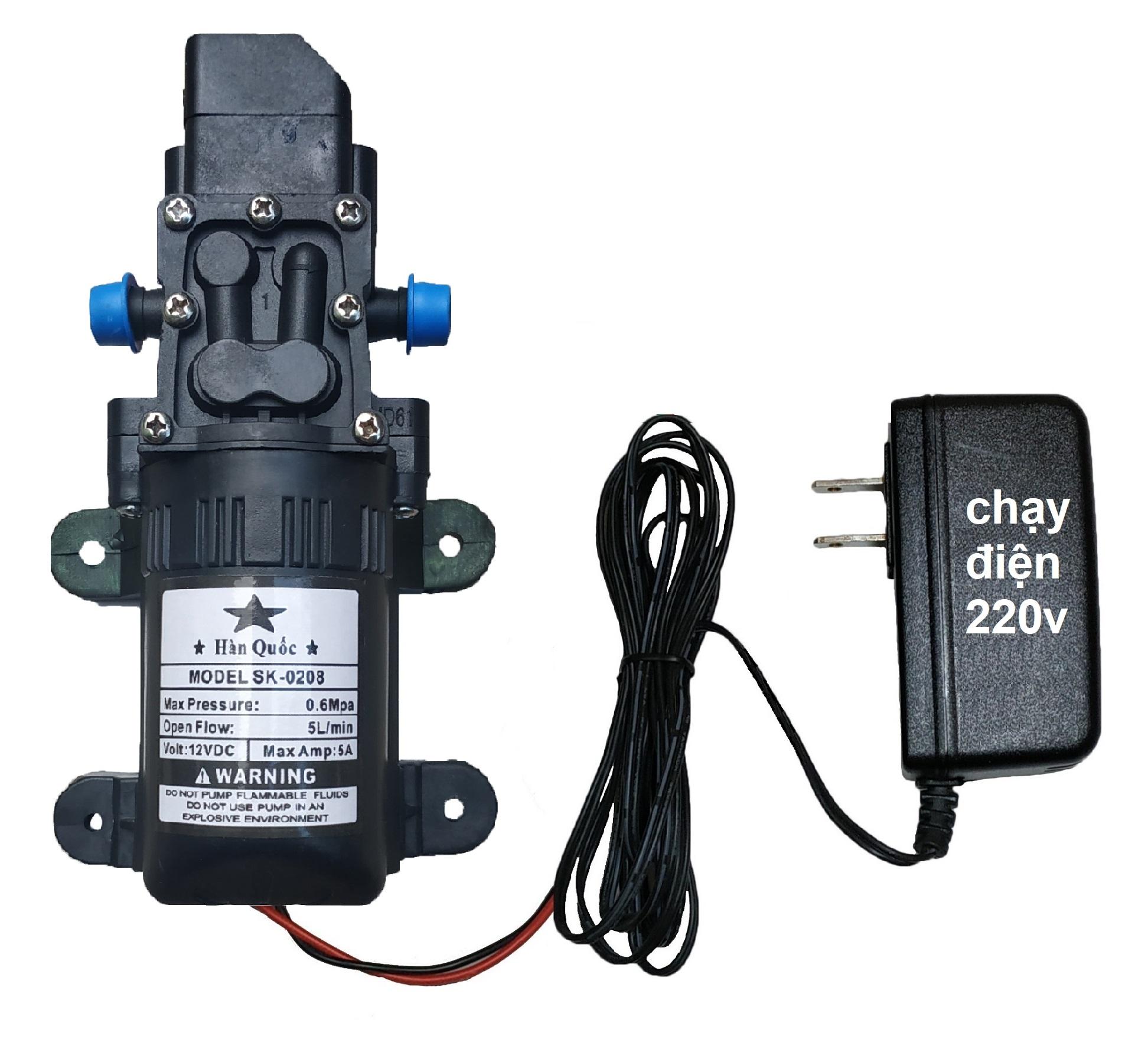 máy bơm nước áp lực mini 12v và adapter 12v