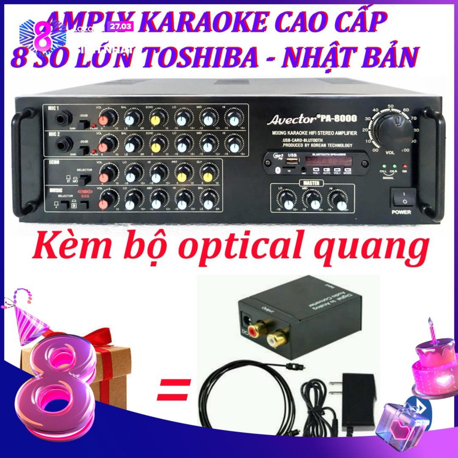 Amply karaoke ampli karaoke amply bluetooth nghe nhạc amply hat karaoke AVECTOR 8000 kèm bộ optical quang