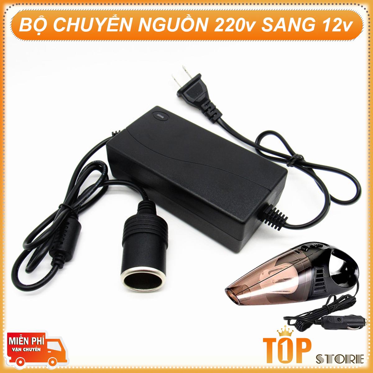 Adapter Chuyển Nguồn Điện 220V Sang 12V Bộ Chuyển Đổi Nguồn ô to 220V - 12v Bộ Adapter chuyển đổi nguồn từ 220V sang 12V đầu ra dạng chân tẩu sạc ô tô