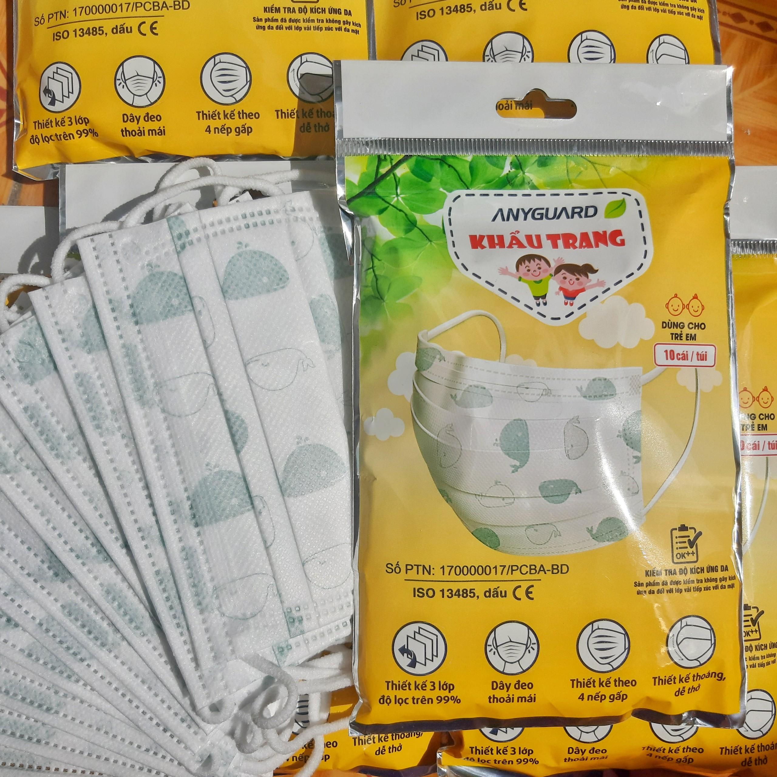 ( 3 tuổi -9 tuổi ) Khẩu trang Anyguard em bé gói 10 cái  - 베이비 마스크- Face mask for kids