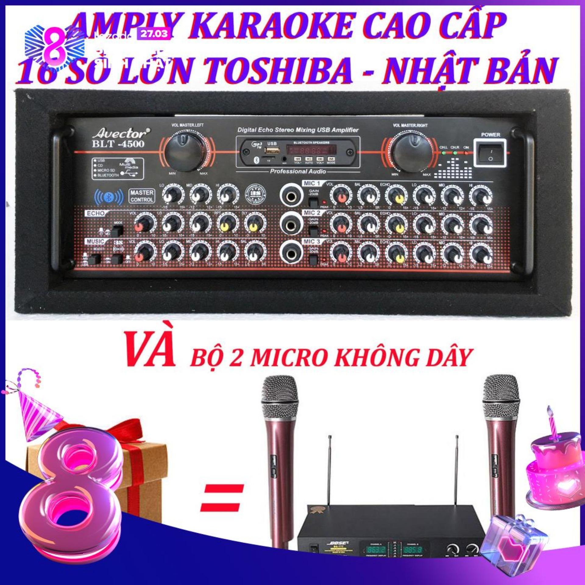 [Trả góp 0%]Amply karaoke ampli bluetooth amply nghe nhac amply karaoke hay cao cấp avector 4500 VÀ bộ micro không dây bs777ii