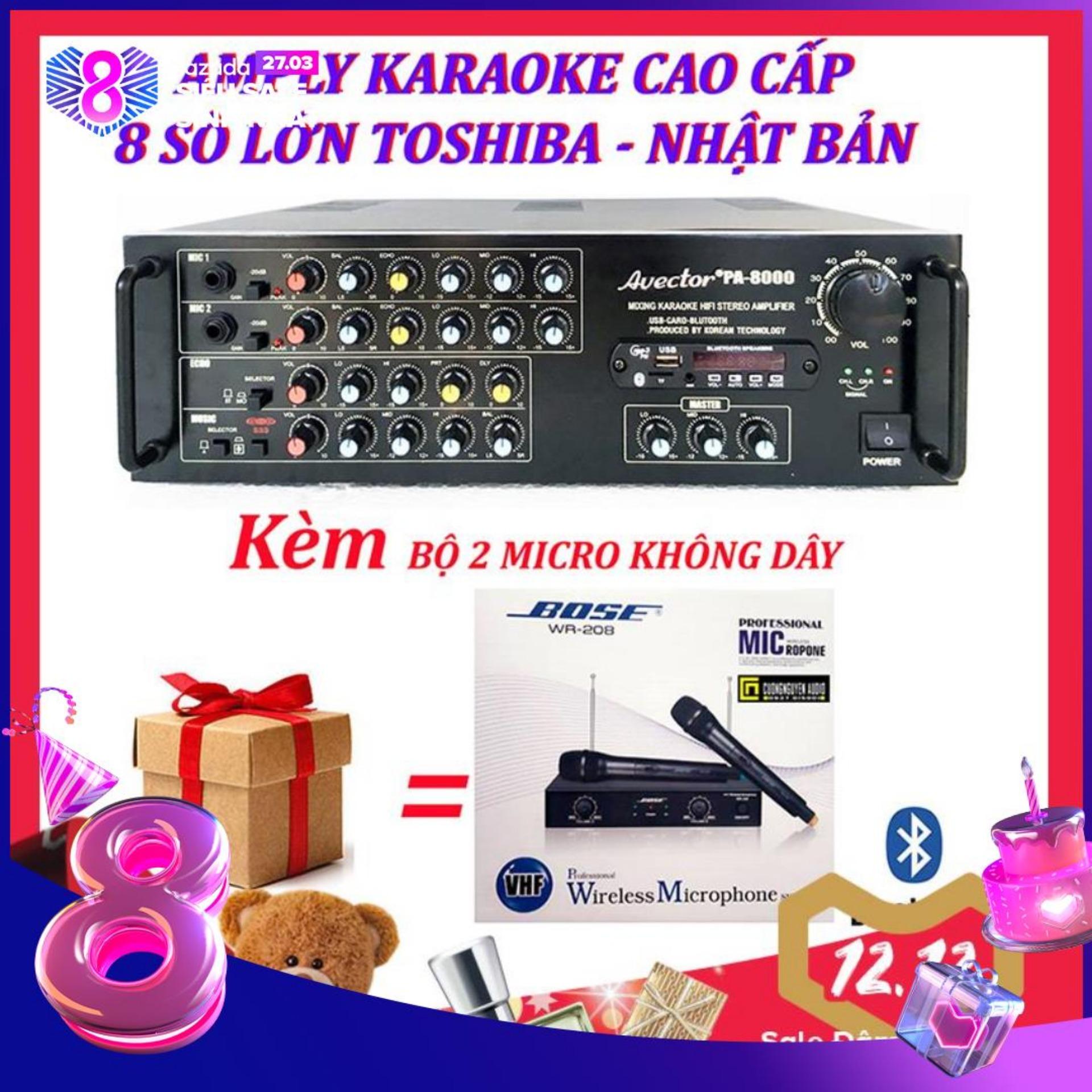 Amply karaoke ampli karaoke amply bluetooth nghe nhạc amply hat karaoke AVECTOR 8000 kèm 2 micro không dây bs208