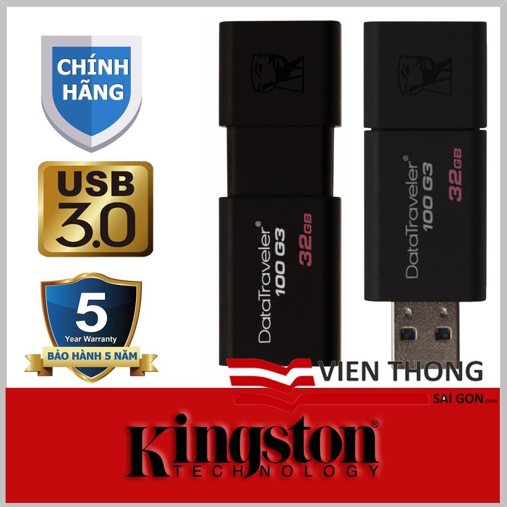 USB 3.0 32GB Kingston DataTraveler 100 G3 (Đen) - Chính hãng phân phối