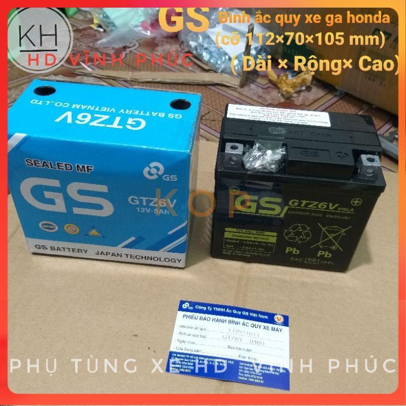 Bình Ắc Quy Khô GS GTZ6V (12V-5Ah) ( 112×70×105 - Dài× rộng× cao) ...