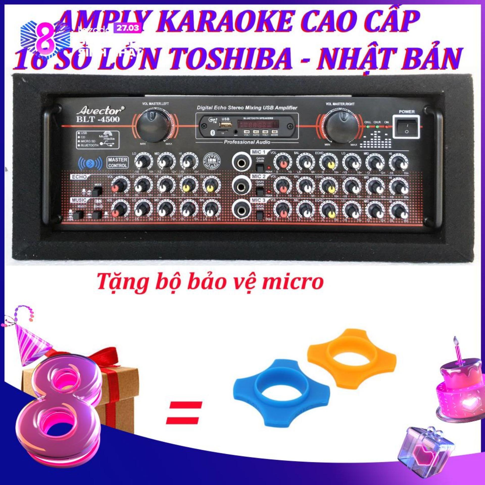 Amply karaoke ampli bluetooth amply nghe nhac amply karaoke hay cao cấp avector 4500 tặng bộ bảo vệ micro