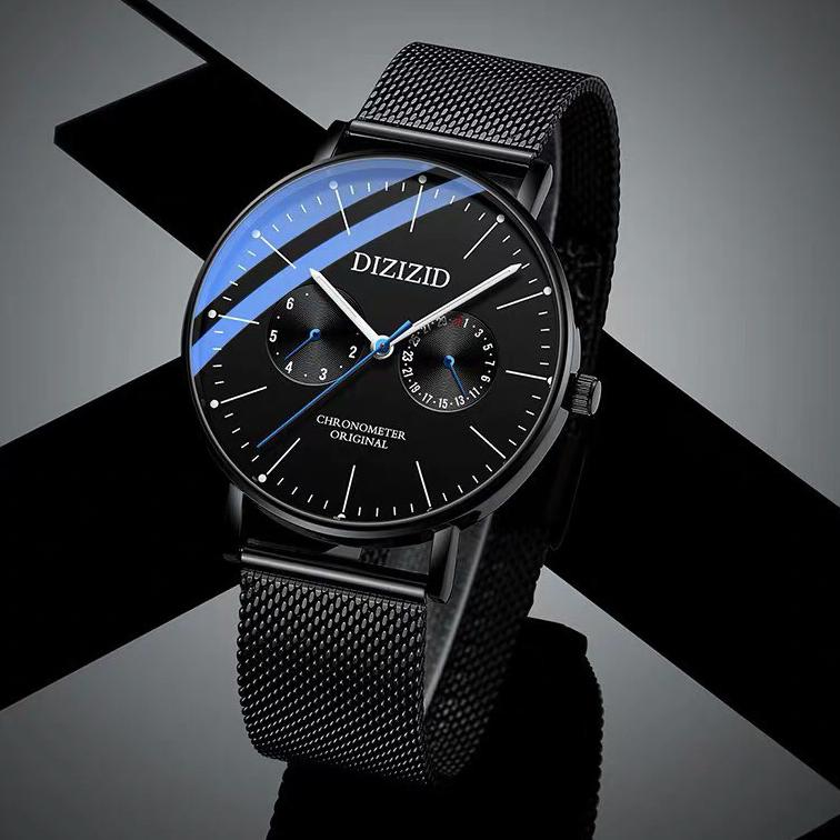 Đồng hồ nam dây thép lụa đen DIZIZID - Thiết Kế Mặt Mỏng Lịch Lãm GAD6K