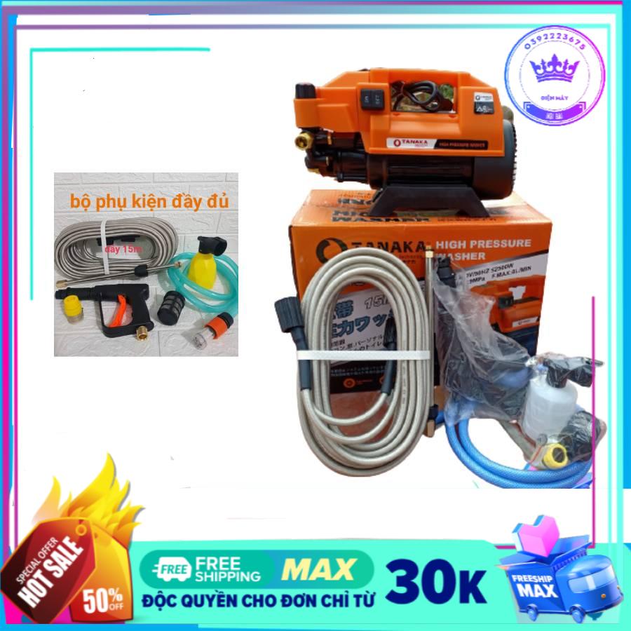 Máy rửa xe mini may rua xe công suất mạnh 2500W may rua xe mi ni máy rửa xe áp lực cao TANAKA dễ dàng sử dụng ống bơm nước 15m vòi bơm áp lực cao