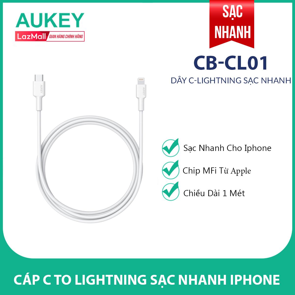 Cáp Sạc Type C To Lightning Aukey CB-CL01 Chuẩn MFi Apple Cao Cấp Dài 1 Mét - Hàng Phân Phối Chính Hãng