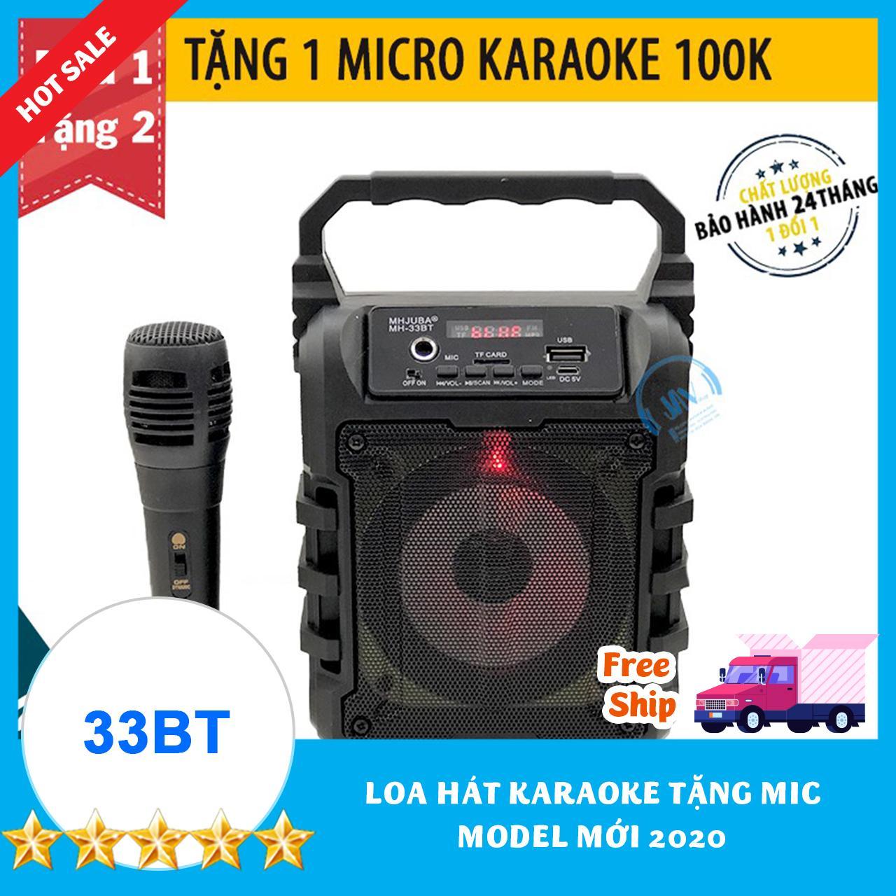[TẶNG 1 MIC KARAOKE CÓ VANG 100K] Loa Kẹo Kéo Karaoke Bluetooth Mini MH-33bt - Tiện lợi - Âm to - Cực đã - JAVA Shop - Loa bluetooth không dây giá rẻ - Loa Karaoke Tại Nhà