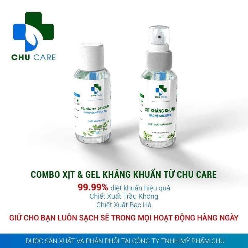 Combo 2 chai nước rửa tay khô diệt khuẩn GEL và XỊT Chu Care 50ml