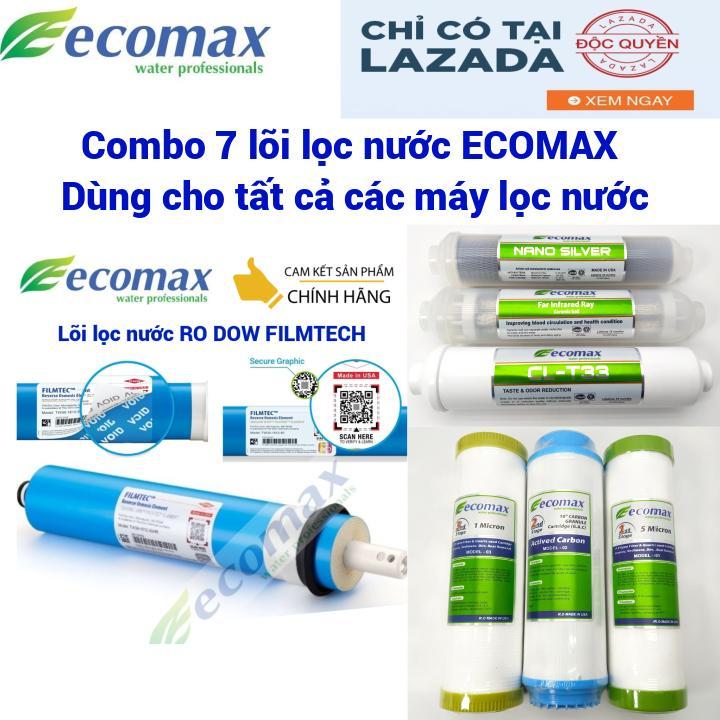 Combo 7 lõi lọc nước Ecomax - lõi lọc nước ro dow filmtech - lõi lọc nước 1 2 3 - lõi lọc nước tạo khoáng