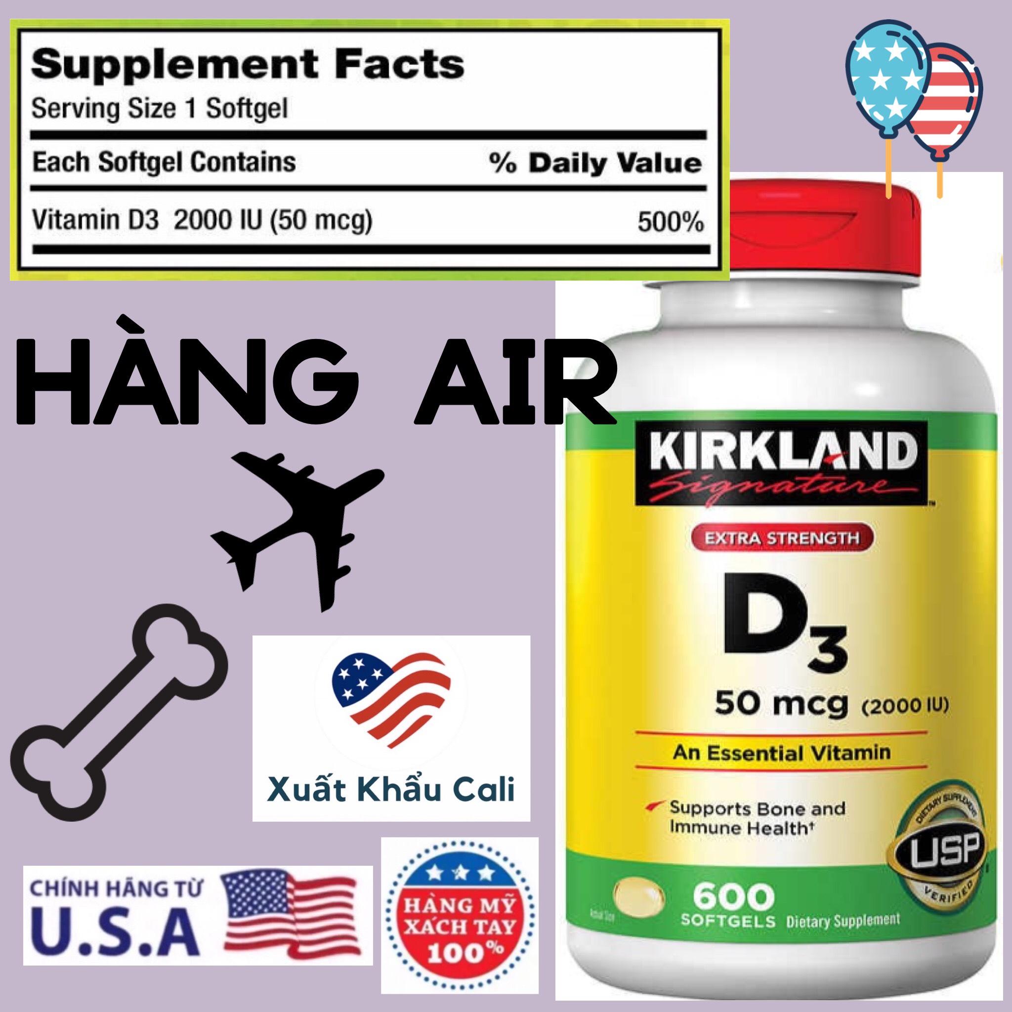 [HCM]Vitamin D3 2000IU 50mcg Kirkland 600 viên Mỹ Viên  bổ sung HSD 01/2024
