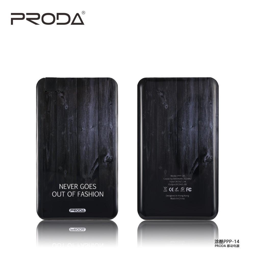 Pin sạc dự phòng Proda PPP-14 dung lượng 5000 mAh tích hợp cáp sạc đa năng 2 in 1 tương thích với mọi thiết bị