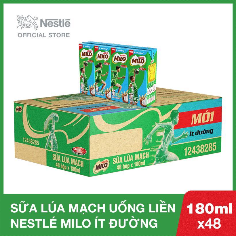 Thùng 48 hộp Nestlé MILO ít đường - 12 lốc x 4 hộp x 180ml