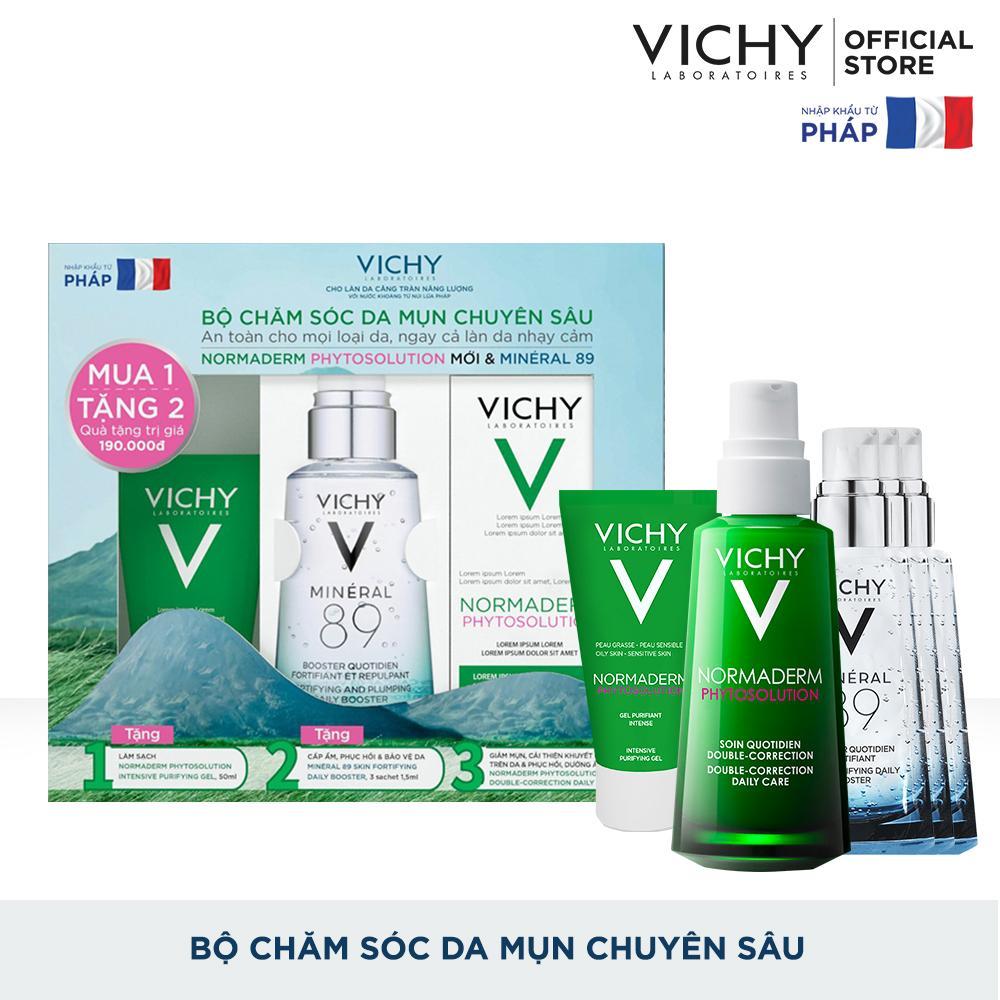 Bộ chăm sóc da chuyên sâu giúp giảm dầu giảm mụn phục hồi và nuôi dưỡng da Vichy Normaderm Phytosolution Double-Correction