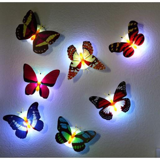 Sét 2 đèn led phát quang dán tường bướm xinh xắn