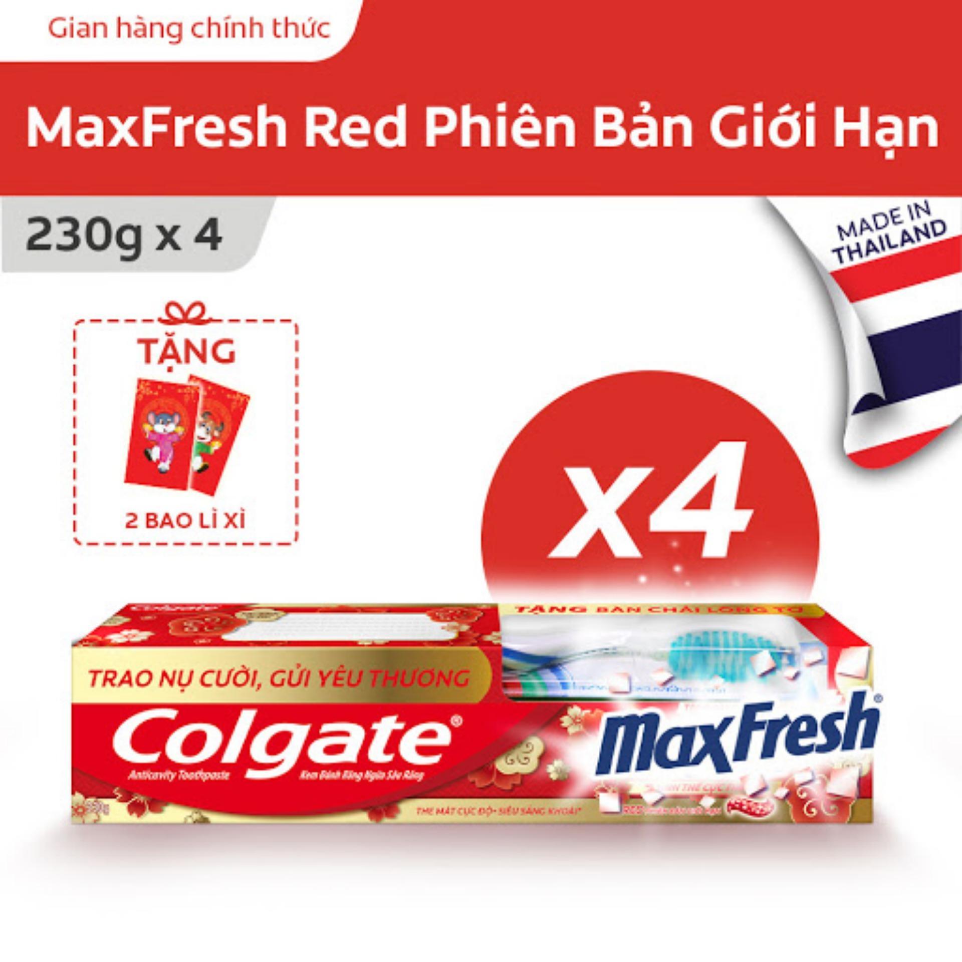 Bộ 4 Kem đánh răng Colgate Maxfresh Đỏ phiên bản giới hạn the mát cực độ 230g/tuýp  tặng bàn chải đánh răng lông tơ mềm mịn Thái Lan