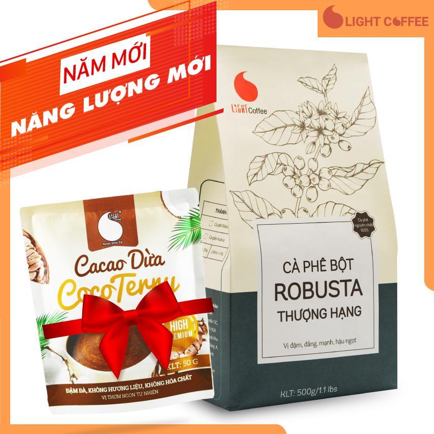 Cà phê bột Light coffee THƯỢNG HẠNG  vị đậm  đắng  mạnh  hậu ngọt  không tẩm ướp  không pha trộn hương liệu gói 500g - Tặng 01 gói Cacao sữa dừa 50g