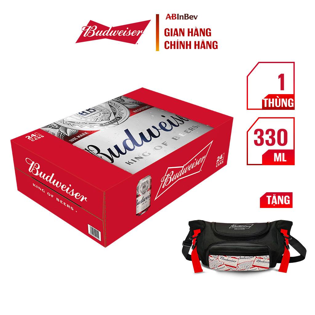 Thùng 24 Lon Bia Lager Budweiser Chính Hãng (330ml/lon)