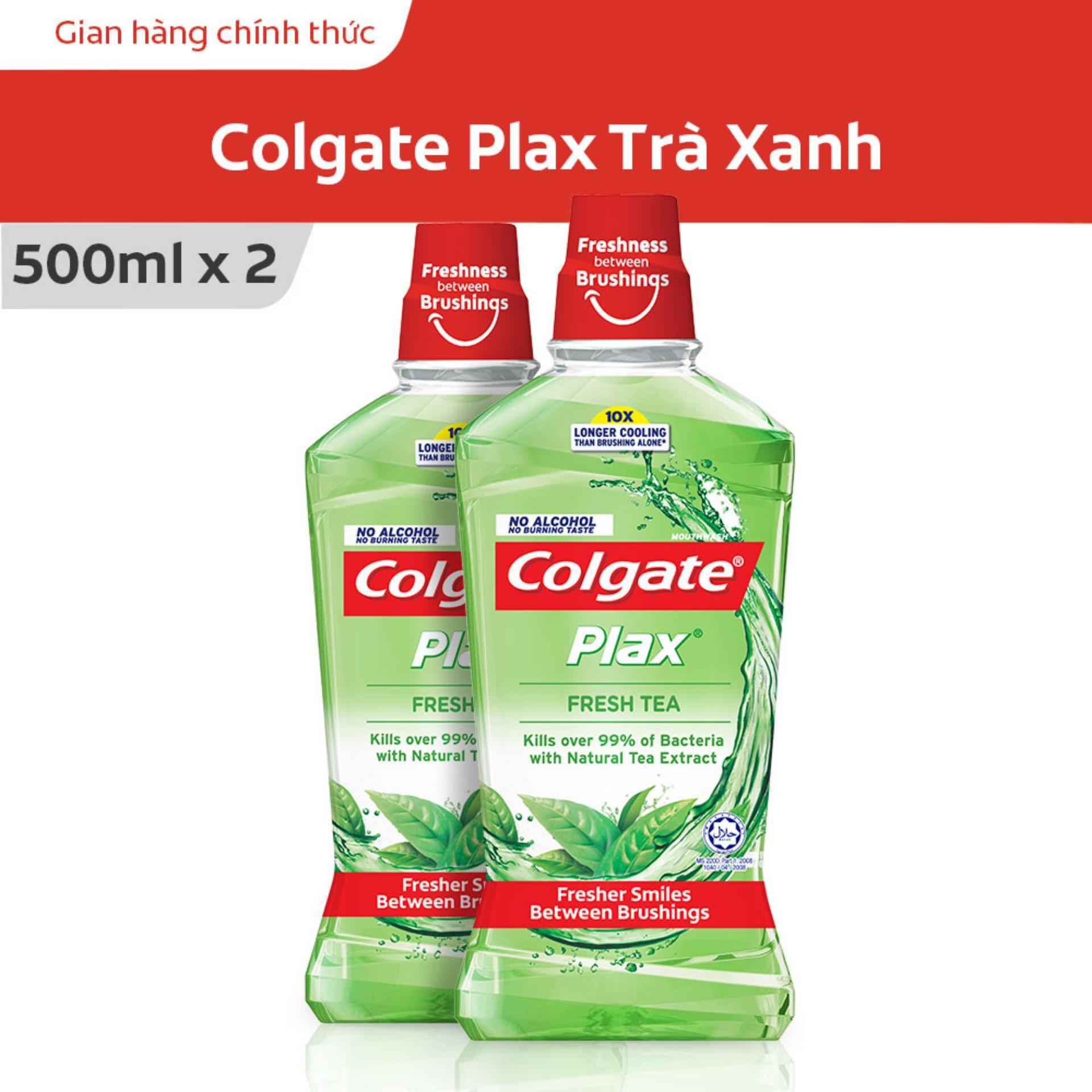 Bộ đôi Nước súc miệng Colgate Plax trà xanh 500ml