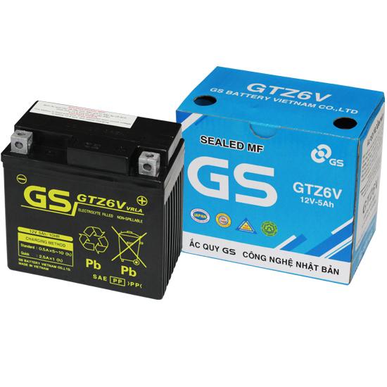 Bình Ắc Quy Khô GS GTZ6V (12V-5AH), Bình ắc quy xe máy, acquy xe máy, bình ac quy, bình acquy, acquy 12v, bình ắc quy khô xe máy, acquy gs, ắc quy gs - BÌNH MF GS GTZ6V (12V-5AH)Mã SP: GTZ6V dành cho xe tay ga, dòng xe số Honda, yamaha, Suzuki