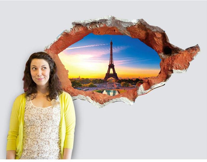 Tranh Decal Dán Tường 3d Phong Cảnh Eiffel Giá Rẻ Tphcm