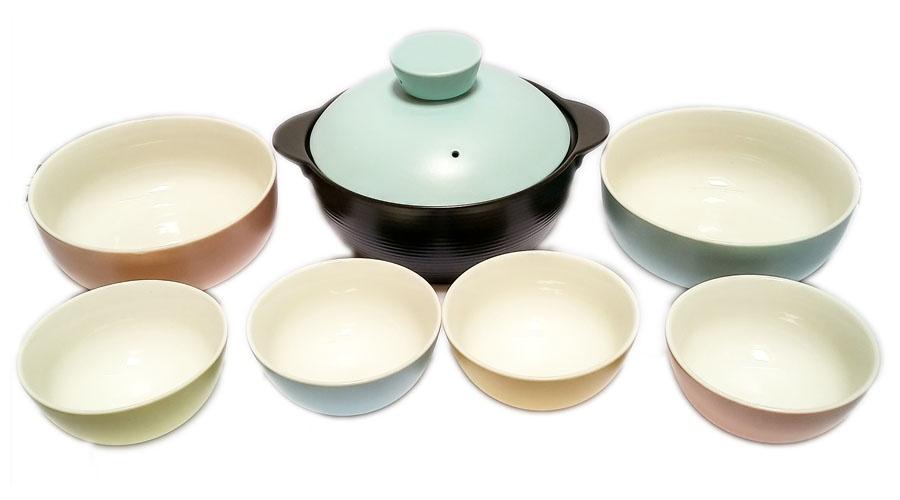 Bộ nồi đất, tô canh và bát cơm sứ cao cấp Pastel Donghwa Hàn Quốc