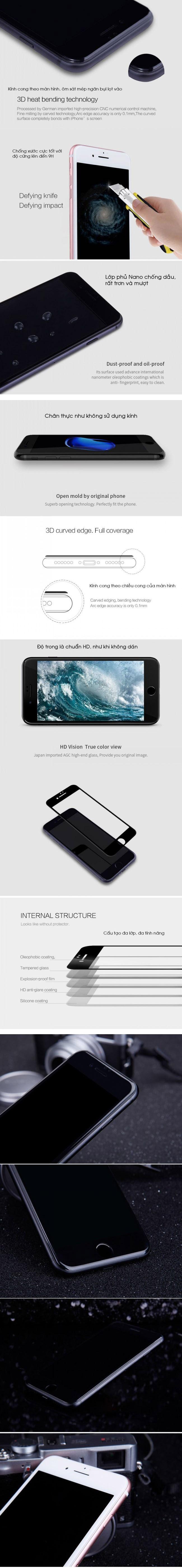 Dán kính cường lực iphone 7 Plus Full màn hình 3D Smart Devil - 5
