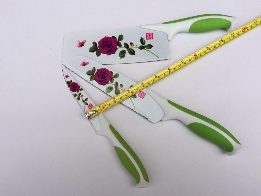 Bộ dao nhà bếp bằng thép in hoa hồng