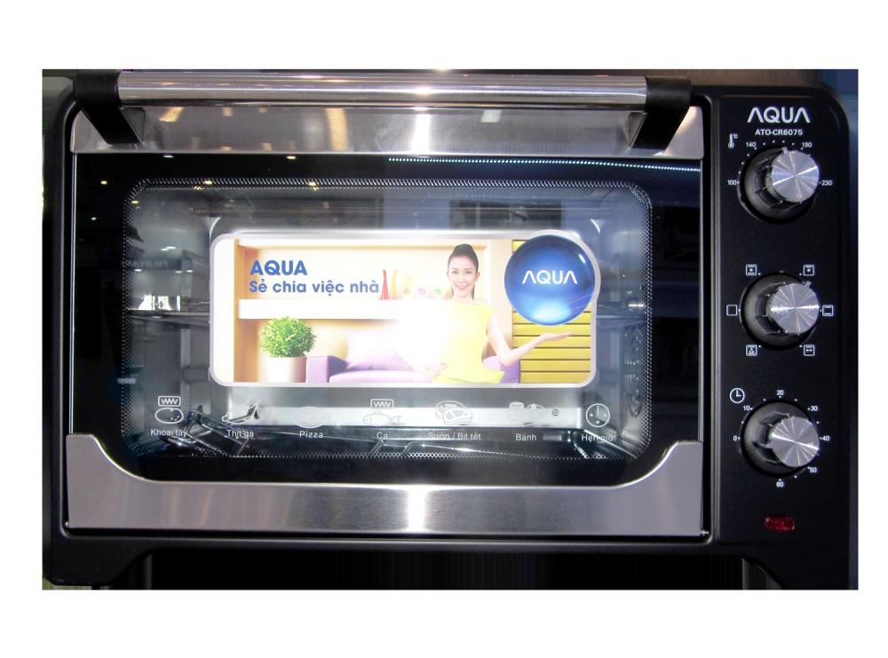LÒ NƯỚNG 35L Aqua ATO-CR6075 có chức năng nướng đối lưu nhiệt và 6 chức năng nướng hiện đại chất liệu lò nướng bằng inox bền chắc cửa kiếng 2 lớp an toàn với người sử dụng
