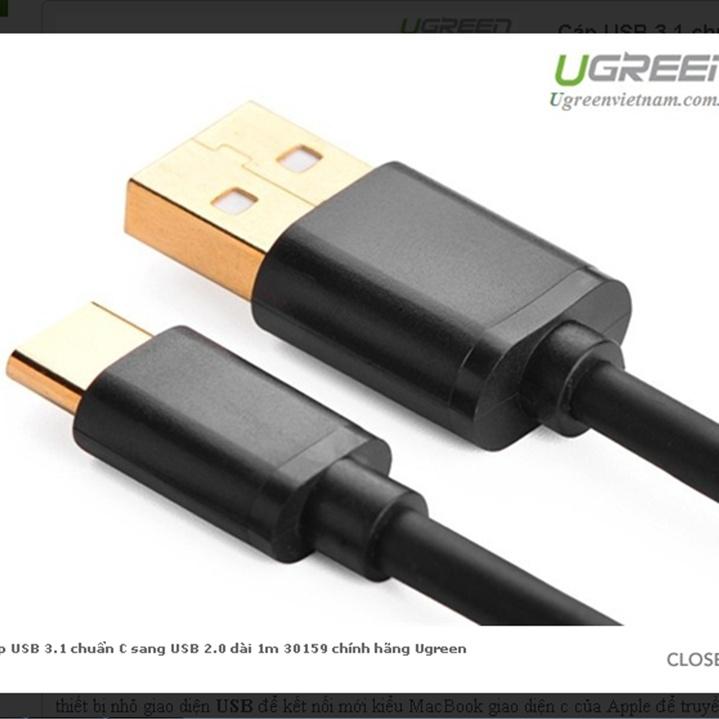 Cáp USB type C sang USB 2.0 dài 1m 30159 chính hãng Ugreen 1
