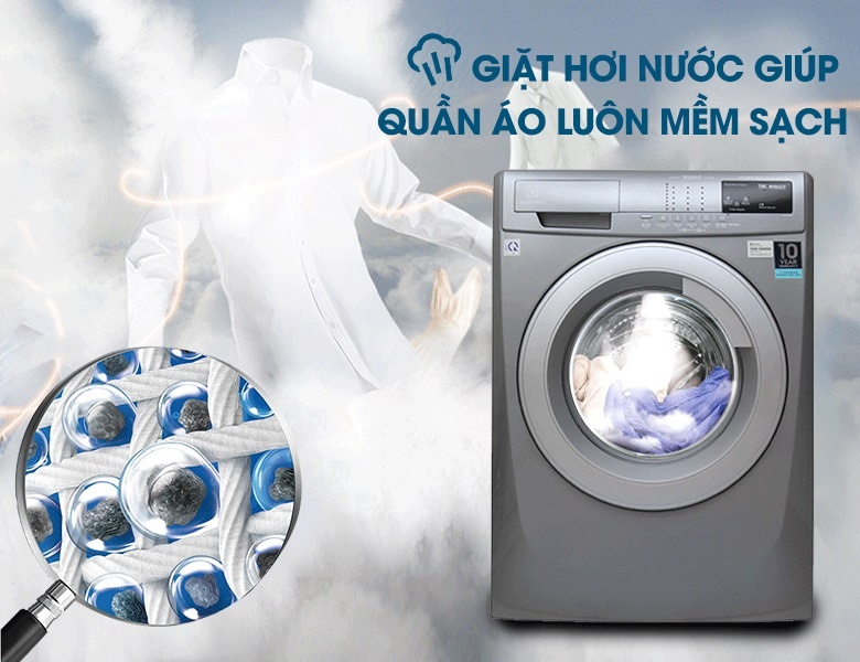 Máy giặt Electrolux EWF12844S có công nghệ giặt hơi nước