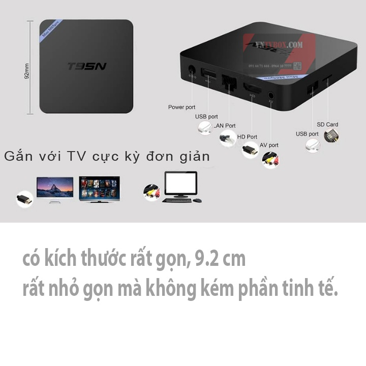 Tivi box T95N 4 Nhân - RAM 2G Chip S905X (Đen)
